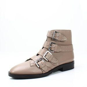 Topshop Beige Leather Paige Studded Bootie Boots